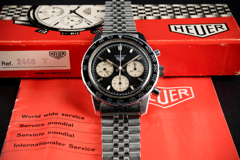 Auctions: Ex-Lotus Test Driver Bought A Heuer Autavia Ref. 2446C In 1968 – And Now Stands To Make 100 Times What It Cost Him At Auction